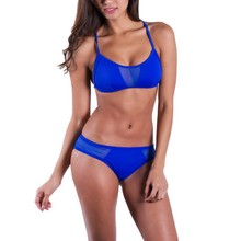 Summer Sexy Mesh Bikini Bra Set Swimwear Women Padded Bra Beach Swimsuit Bathing Suit