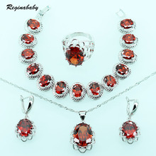 Reginababy Red Created Garnet Jewelry Sets For Wedding Silver Color Overlay Crystal Bracelet/Necklace/Earrings/Ring/Pendant