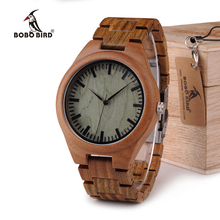 BOBO BIRD WG19 Men Luxury Brand Green Sandal Wood Watches Full Wooden Quartz Watch Handmade Wristwatches in Wood Box OEM relogio