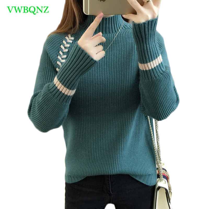 Half high collar sweater Women Korean Loose Bottom shirt Autumn Winter Pullover Sweaters Peacock blue Warm Sweaters A834