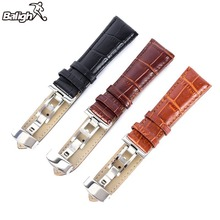 16-24mm Genuine Leather Strap Polished Stainless Steel Butterfly Clasp Deployant Buckle Watch Band 5 Color(China)