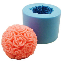 Fast Delivery 3D Round Rose / Flower Ball Fondant Cake Decoration Mould 3D Food Grade Silicone Chocolate Soap Candle Mold