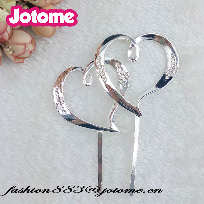 80mm Rhinestone Wedding Decoration Double Heart  Crystals Cake Topper