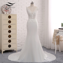 Buy Sexy V-neck Chiffon Chapel Train Long Cap Sleeves Lace Appliques Wedding Dress Mermaid Real Photos Bridal Gown 2018 SLD-W593 for $70.00 in AliExpress store