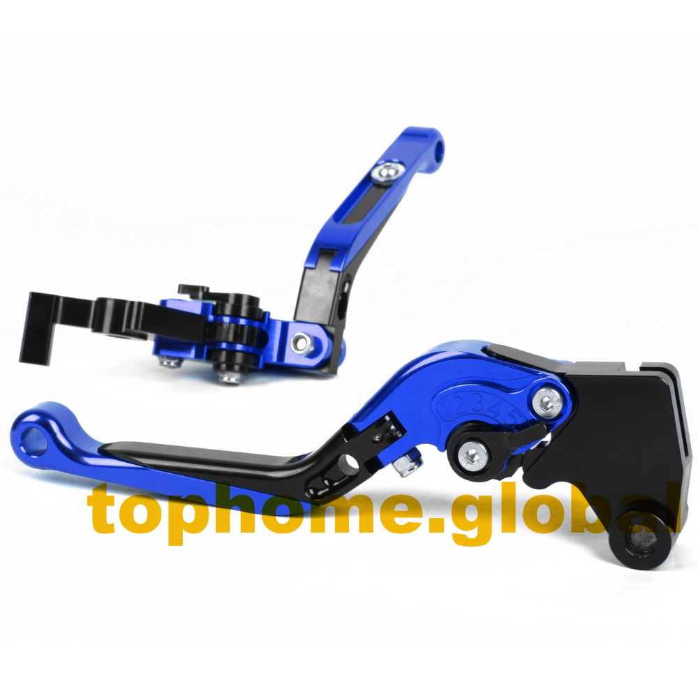 Blue&amp;Black Motorbike Accessories CNC Folding&amp;Extending Brake Clutch Levers For Yamaha YZF R25 2015 Free Shipping<br>
