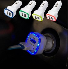 New Arrival 2.1A+1A Dual 2 USB Port LED Car Charger Adapter for Universal Smart Phone Tablet(China)