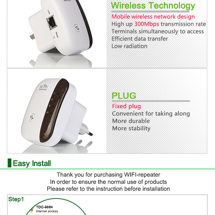 Wireless WiFi Repeater Signal Amplifier 802.11N/B/G Wi-fi Range Extander 300Mbps Signal Boosters Repetidor Wifi Wps Encryption 11