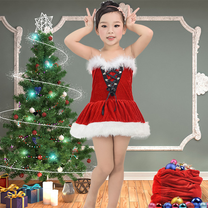 2016 New Baby Girl Christmas Dress With Santa Cap Feather Decor Ribbon Lacing Kid A-line Mesh Xmas Coustume For Girls<br><br>Aliexpress