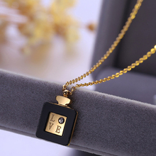 361L stainless steel CZ LOVE perfume bottle necklace statement choker necklace women Jewelry Gift for Women Girl Lady