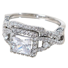 2Pcs Women Ring Silver Plated Cubic Zircon Rings Set Crystal Solitaire W/ Accents 8J2L(China)
