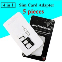 5pcs 4 in 1 SIM Card Adapter micro sim adapter with Eject Pin Key Nano Retail Package For iPhone 5/5S/6/6S/4/Samsung/xiaomi