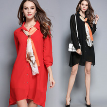 Autumn Chiffon Dress Turn-down Collar Full Sleeve Silky Scarf Red Black Women Clothes Spring Shirt Dress Plus Size M-5XL Dresses(China)