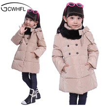 Girls Thicker Warm Down Jacket Outerwear 2017 Winter New Fashion Children 4-14Year Clothing Kids Casual Long Hooded Dowm Coat(China)