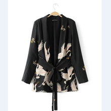2017 Women Fashion Vintage Retro Loose Jacket Animal Crane Print Kimono Suit jacket Brand sashes Outwear Coat Tops CT002(China)