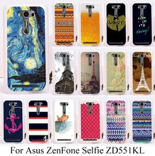Soft TPU Hard Plastic Skin Cell Phone Cover Cases For Asus ZenFone Selfie ZD551KL 5.5 inch Cases covers Colorful Painting Cover
