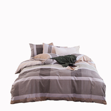 Grey men bedding set home/hotel bed linen stripe plaid bedding cotton 100% queen full twin size duvet cover bedspread pillowcase(China)
