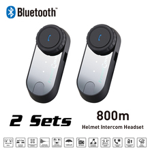 New Moto Interphone 2 Sets 800M FM Function Bluetooth Motorcycle Helmet Intercom Headset For Phone/GPS/MP3 intercomunicador