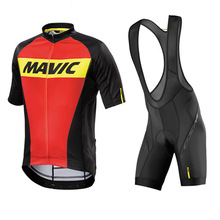 Mavic 2017 Cycling Jersey Summer Team Short Sleeves Cycling Set Bike Clothing Ropa Ciclismo Cycling Clothing Sports Suit 9D Pad(China)