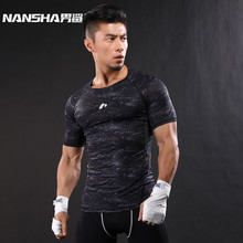 NANSHA 2017 Quick Dry Slim Fit Tees Men Printed T-Shirts Compression Shirt Tops Bodybuilding Fitness O-Neck Short Sleeve T Shirt(China)