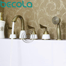 Freeshipping antique tub faucet Bathroom Brass Mixer Three handles Five holes Surface Mounted faucet  HY-681