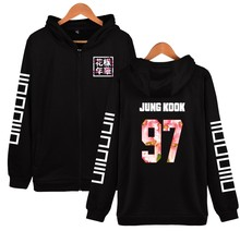 New Arrival BTS Design Hoodies Women Hip Hop With Zipper JIMIN 95 Kpop Black Streetwear Style Womens Jackets And Coats Plus Size