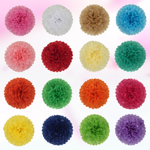 AJP 1piece pompon Tissue Paper Pom Poms Flower Balls for wedding room Decoration Party Supplies diy craft paper flower(China)
