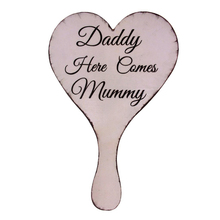 Handheld Daddy Here Comes Mummy Wedding Sign Bridesmaid Page Boy  for Groom and Bride Party Supply