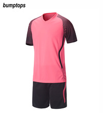 Men Blank Soccer Jerseys 2017 Adults Football Training Suit Soccer Sets Soccer Sweater Uniform Tracksuit Customize Short Sleeve(China)