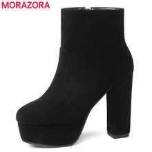 MORAZORA 2018 new top quality flock leather boots woemn high heels platform ankle boots for women round toe autumn winter shoes(China)