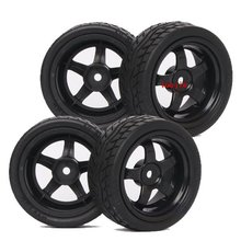 6030-8004 4PCS RC 1/10 1:10 On Road Model Car Tires Rubber Sponge Speed Liner Tire Tyre Wheel Rim HOBBY Fit HSP REDCAR(China)