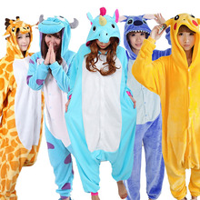 Winter Adult Women Hooded Pajamas Animal Pajamas Sets Cartoon Sleepwear Flannel Homewear Stitch Panda Totoro Unicorn Pikachu(China)