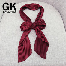 GONZETANNK Luxury Brand 2017 Spring New Women Beautiful Silk Satin Scarves Solid Colour Crepe Chiffon Necklace Scarf 150*9cm