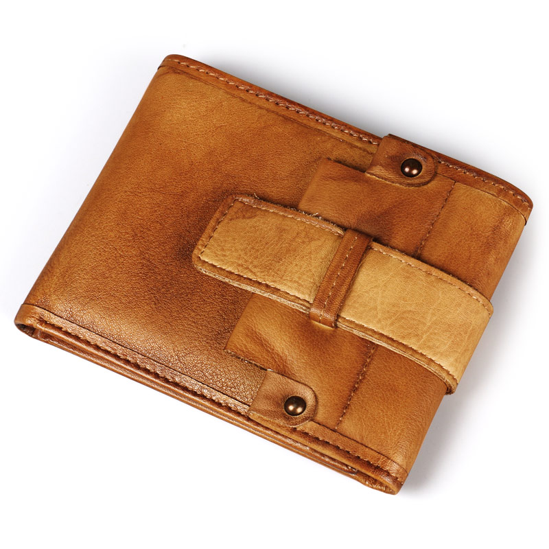 Ruil Ameikaji Top quality Retro Fashion Hand coloring Genuine Leather Men Mini Purse Handmade Wallet coin pocket purse card<br>
