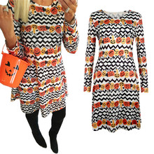 Women's Autumn Winter Long Sleeve Dress Retro Pumpkin Print Halloween Party Dress 2018 Halloween Dress Clothing Vestidos D190(China)