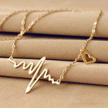 2016 Hot Simple Wave Heart Necklace Chic ECG Heartbeat Gold Plated Pendant Charm Lightning Necklace for Women Vintage Jewelry