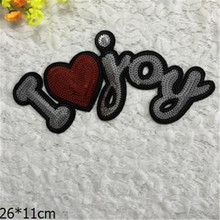 Free shipping Women/men/boy clothes embroidery i love you patch fashion sequins logo iron on patches for clothing fabric DIY(China)