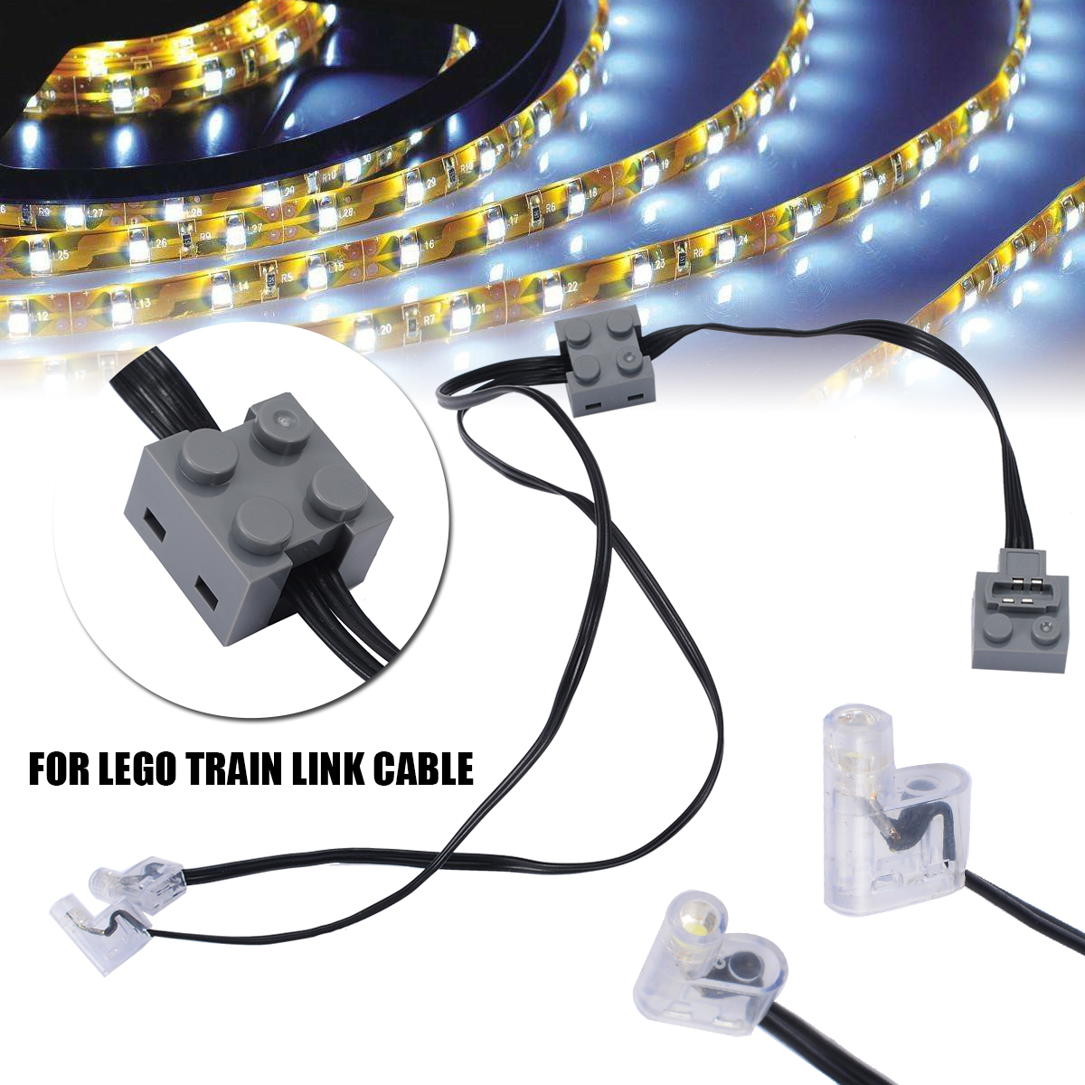 1pc 37cm Technic Power Function 8870 LED Light Link Line Cable For Lego Train Vehicle High Quality