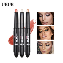 UBUB Eye Pencil Eyeshadow Silkworm Pen Velvet Shimmer Earth Double Color Eye Shadow Cream Glitter Makeup Palette Cosmetics(China)