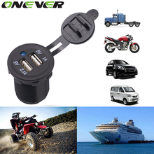 Motorcycle Dual USB Socket Charger Power Adapter Outlet Power 12-24V Mobile Phone Charger with LED for Auto Car Truck ATV Boat(China)