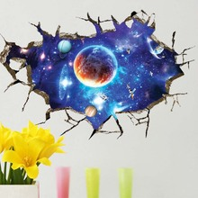 Universe 3D Planet Wall Sticker PVC Waterproof Mural Removable Art Decals Universe Star Wall Paper Kids Room home Decoration(China)