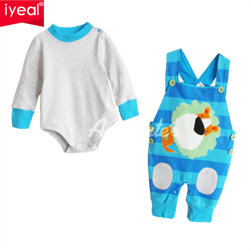 IYEAL Top Quality autumn cotton girls long sleeve bodysuit+Overalls 2pcs clothes sets Infant toddler girls Outfit for 0-2 years<br>