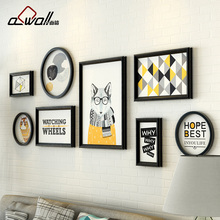 8 Pieces/Set Vintage Photo Frame Plastic Frame For Pictures Fox Core Picture Colored Picture Frame For Family Rural Style Round