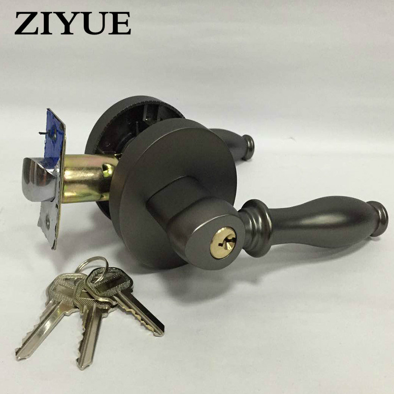 Free Shipping Zinc Alloy Home Black Handle Door lock with Keys<br>