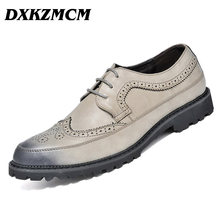 DXKZMCM 2017 Men Oxfords Designer Brogue Genuine Leather Lace Up Mens Formal Dress Party Office Wedding Shoes(China)