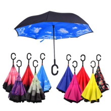 Windproof reverse umbrella Folding Double Layer Inverted Chuva Umbrella Self Stand Inside Out Rain Protection C-Hook paraguas