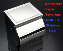 Bathroom Accessories 304 Stainless Steel Bathroom Toilet Paper Holder Water Proof Paper Box Toilet Towel Holder Without Ashtray