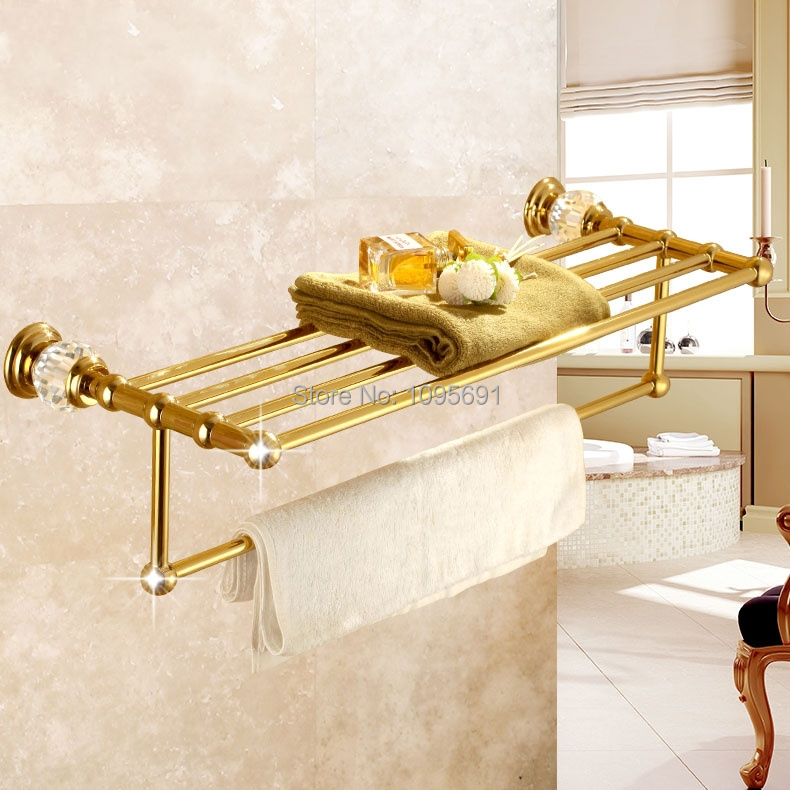 Luxurious Brass+Crystal Titanium Gold Plating Towel Rack,towel Shelf with Bar,towel Holder Bathroom accessories<br><br>Aliexpress