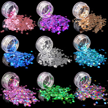 (1Pcs/Sell) Loving Heart Laser shining DIY Glitter Nail art Dlitter For Women Superfine Powder Decorations Fashion Beautiful
