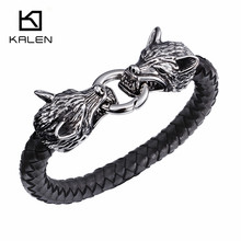 Kalen New Punk Stainless Steel Double Wolf Head Biker Bracelets High Quality Gothic Leather Animal Men Cool Bracelet Bangle