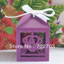 Free shipping 600 pcs/lot Wedding Party Purple Pumpkin Coach Pearl Paper Laser Cut Candy Box